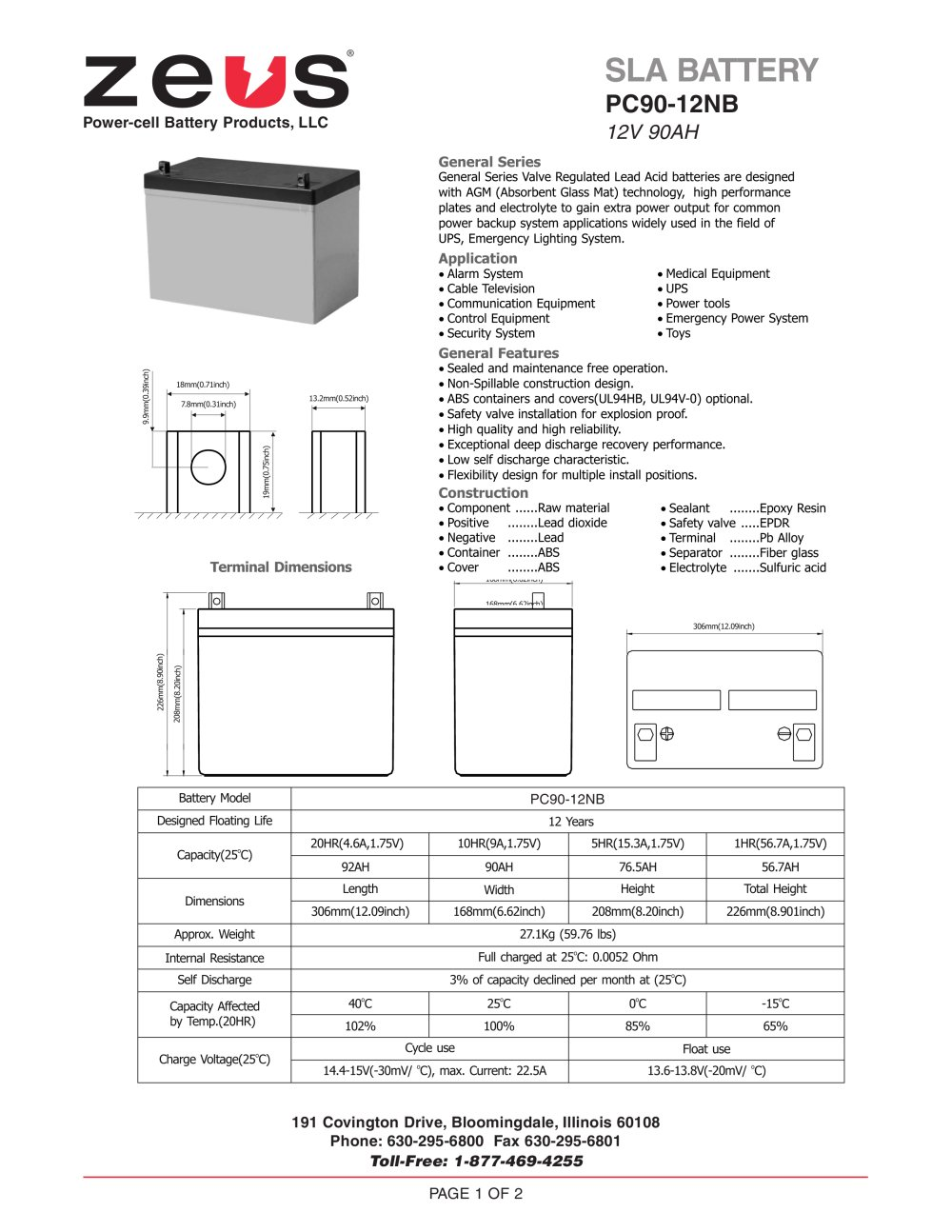 hight resolution of pc90 12nb 12 volt 90 ah sealed lead acid battery 1 2 pages