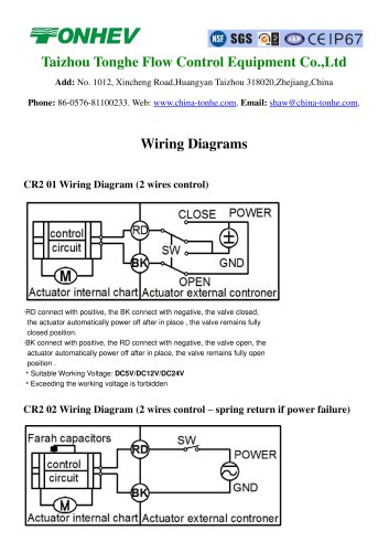 tonhe motorized valve wiring diagrams  taizhou tonhe flow