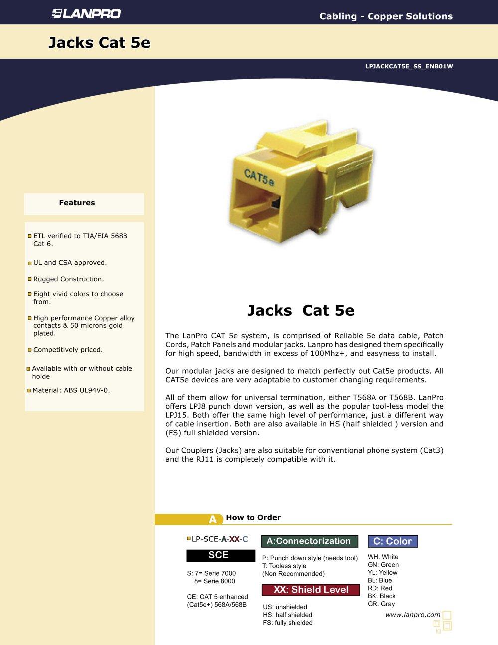 medium resolution of lpjackcat5e ss enb01w modular jacks cat 5e 1 1 pages