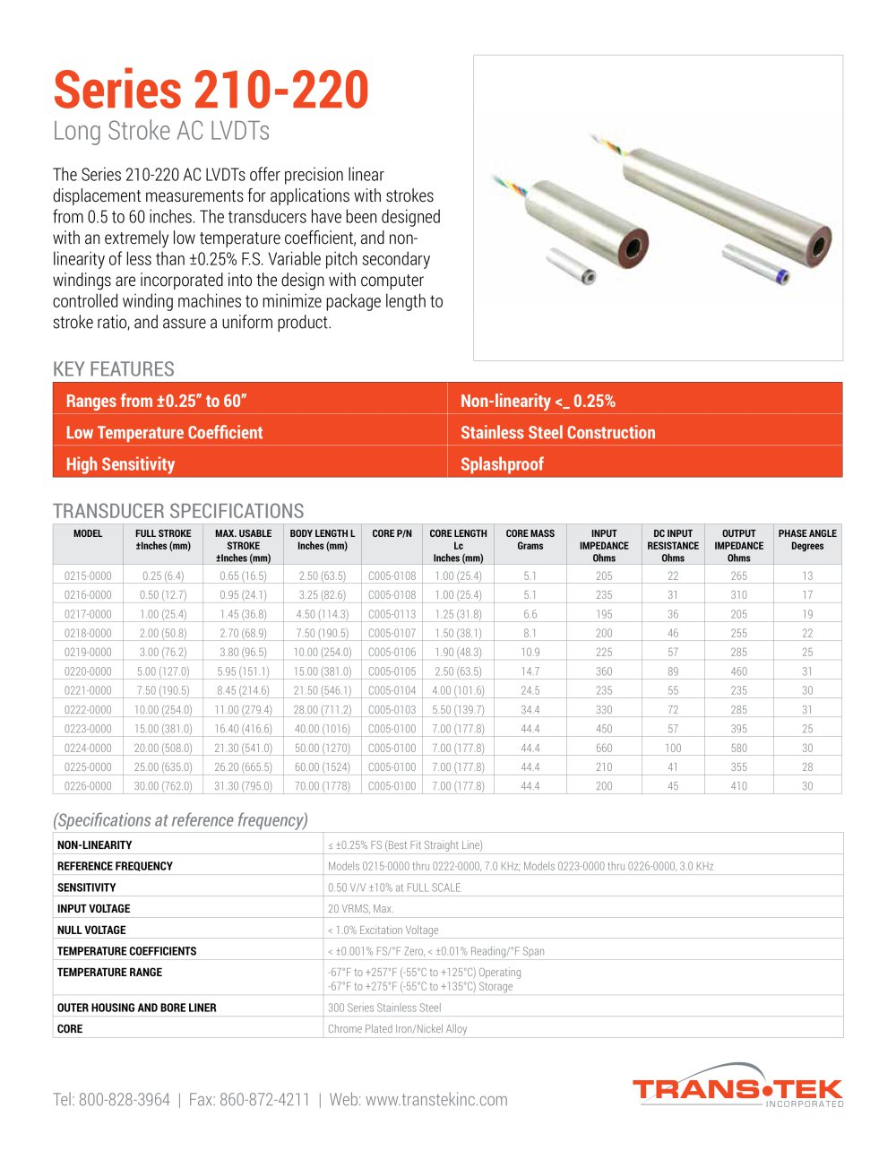 medium resolution of series 210 220 long stroke ac lvdts 1 4 pages