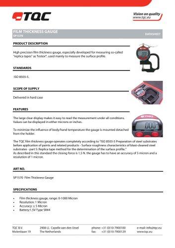 Tous les catalogues et fiches techniques (PDF) TQC Sheen BV