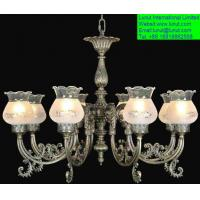 Classic european ceiling lamp with copper and glass ...