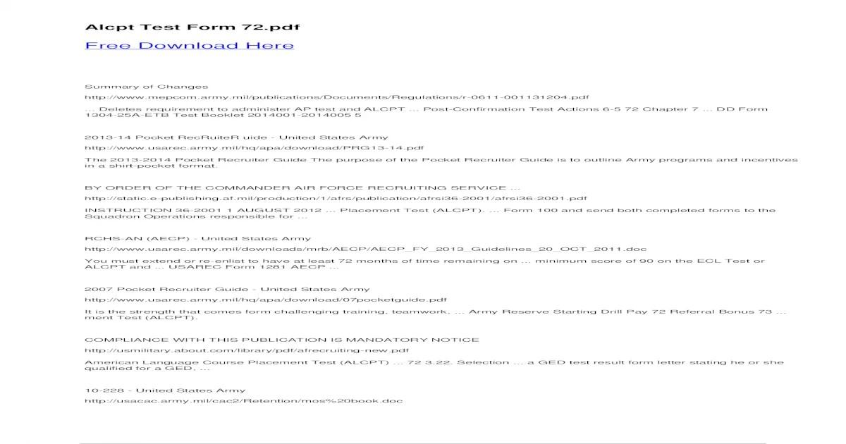 Alcpt Test Form 72