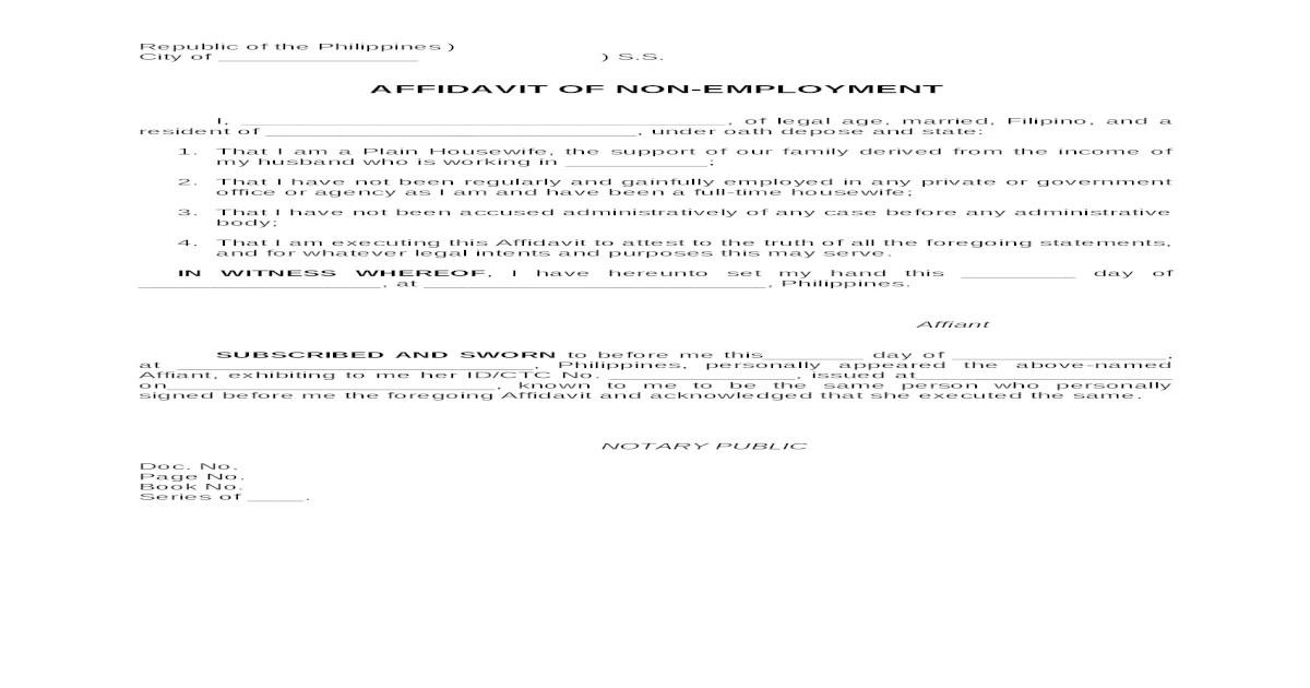 Sample Format Affidavit of Non-employment