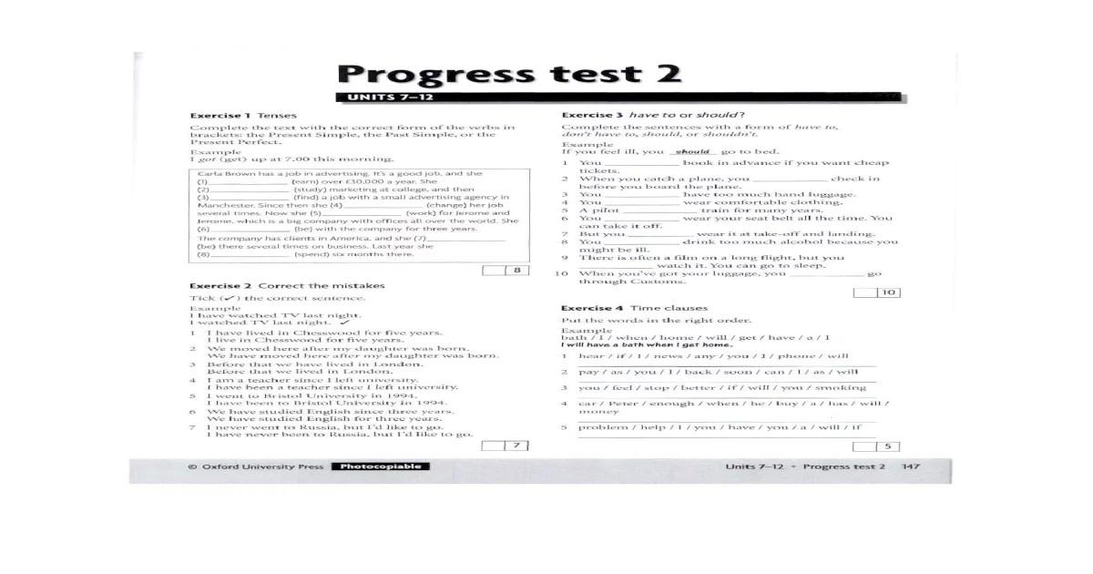 Progress Test 2, Units 7-12