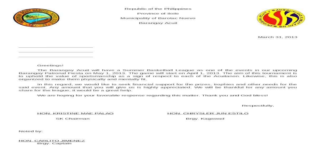 sample of Solicitation Letter