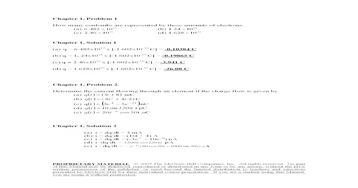 Fundamentals of Electric Circuits solution manual