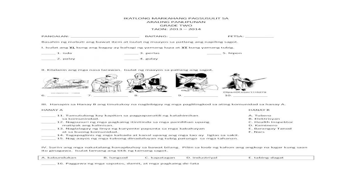 K to 12 Araling Panlipunan Grade 2 (3rd Periodical Exam)