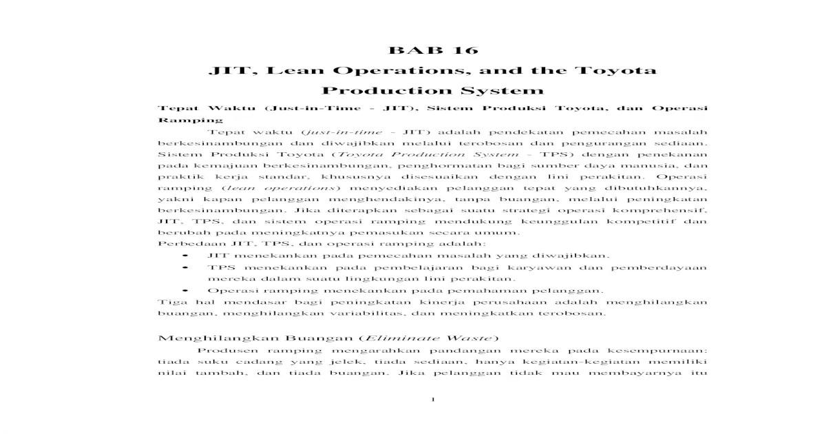 BAB 16 Manajemen Operasi Heizer & Render Edisi 11