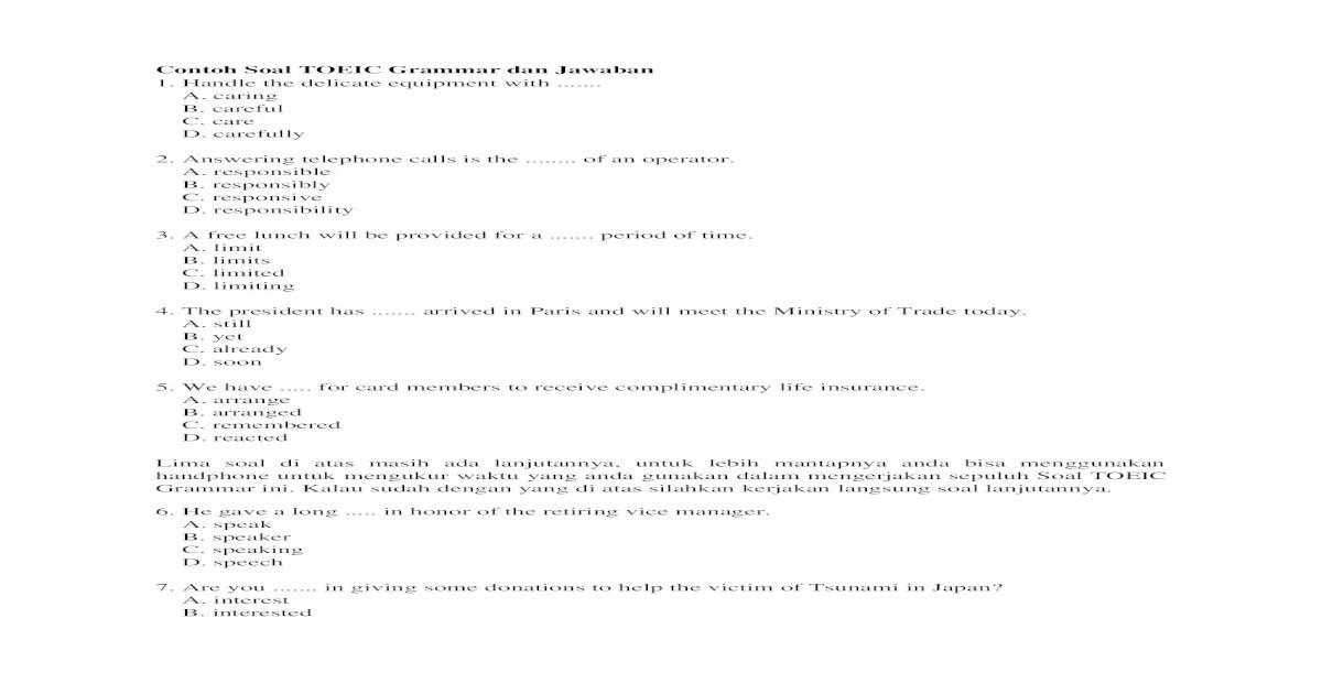 CONTOH SOAL TOEIC DAN KUNCI JAWABANNYA PDF