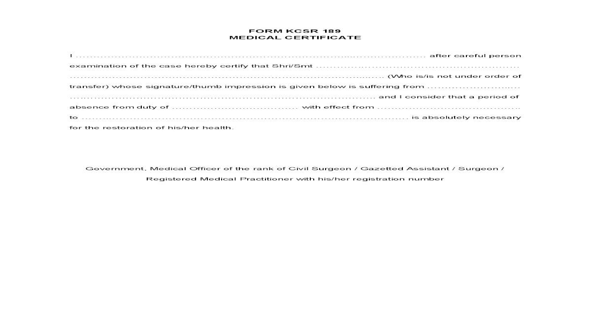 FORM KCSR 189 (Medical Certificate)