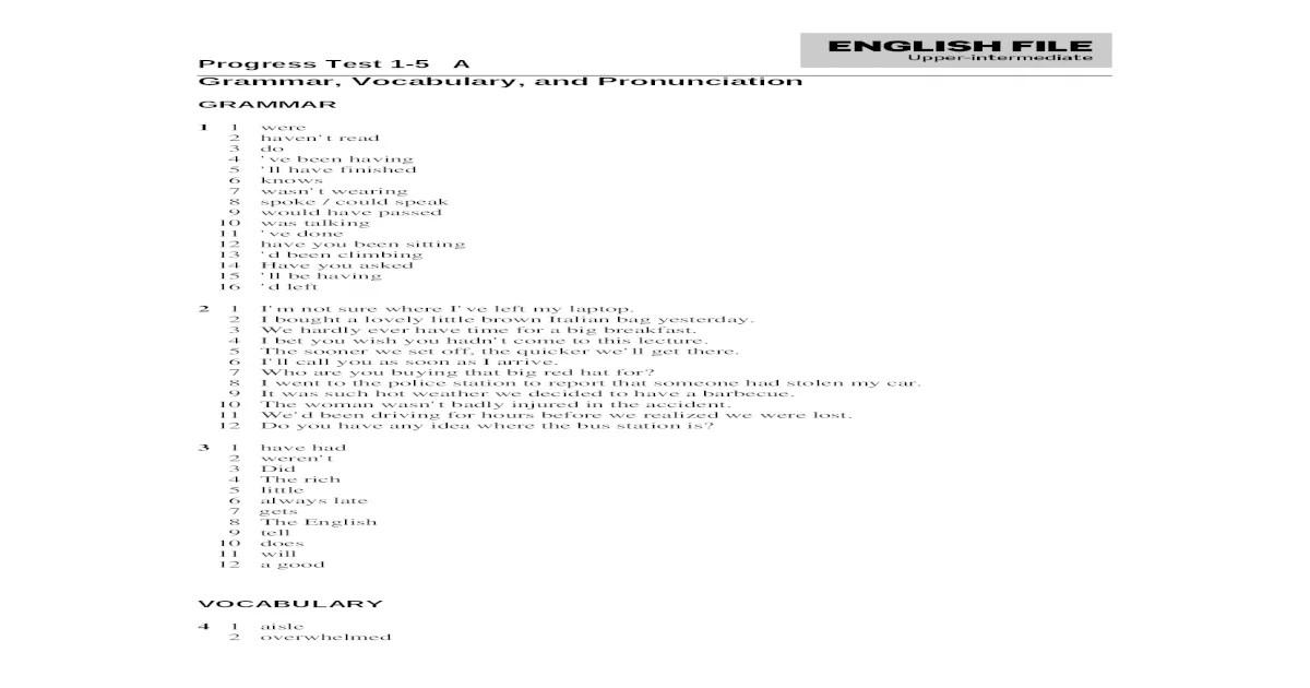EF3e Uppint Progresstest 1 5 Answerkey