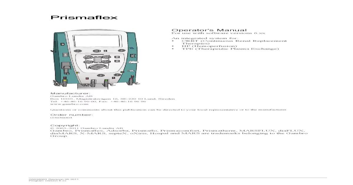 Prismaflex user manual