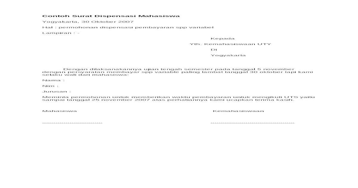 Contoh Surat Dispensasi Pembayaran Kuliah