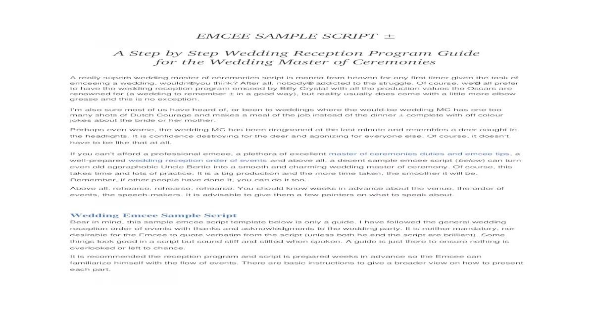 Emcee Sample Script