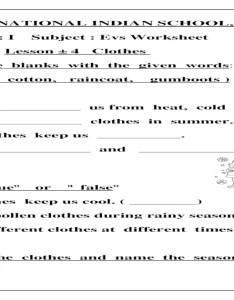 also evs worksheet class  lesson clothes rh dokumen