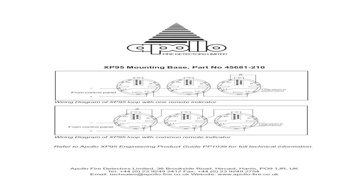 apollo xp95 addressable smoke detector wiring diagram trailer diagrams mounting base