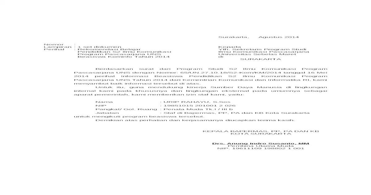 Surat Rekomendasi S2