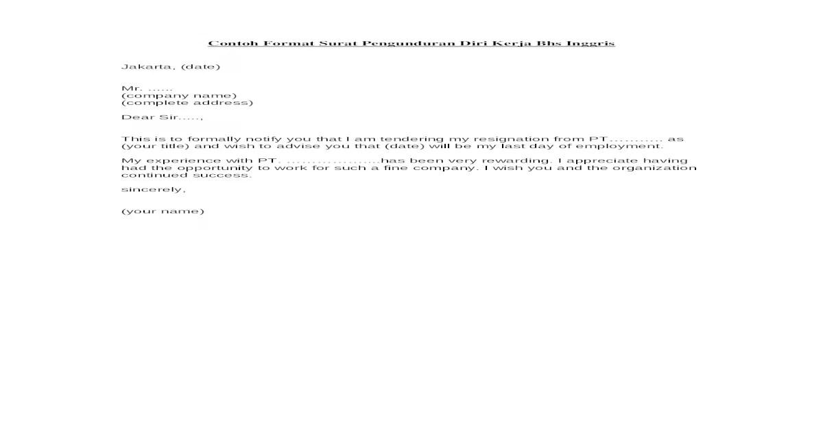 Contoh Format Surat Pengunduran Diri Kerja Bhs Inggris3doc
