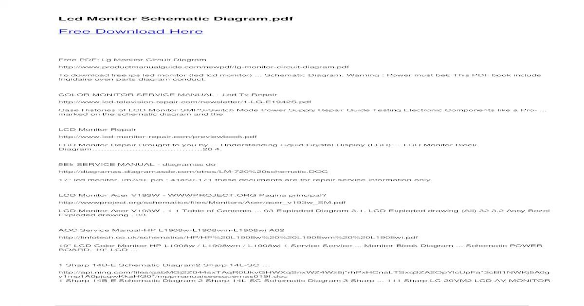 [35+] Sharp Tv Schematic Diagram Free Download