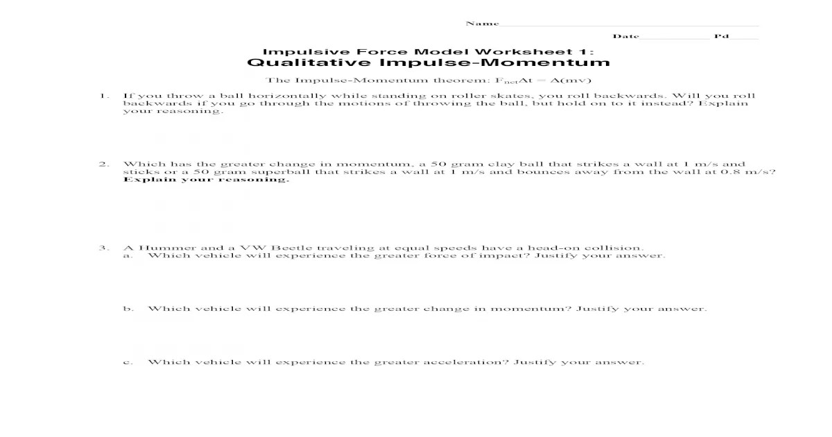 Impulsive Force Model Worksheet 3 Conservation Of Momentum