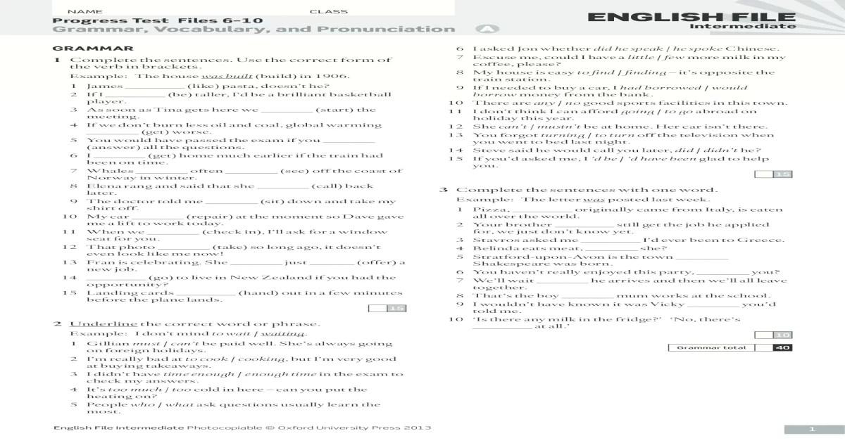 English File Intermediate Progress Test