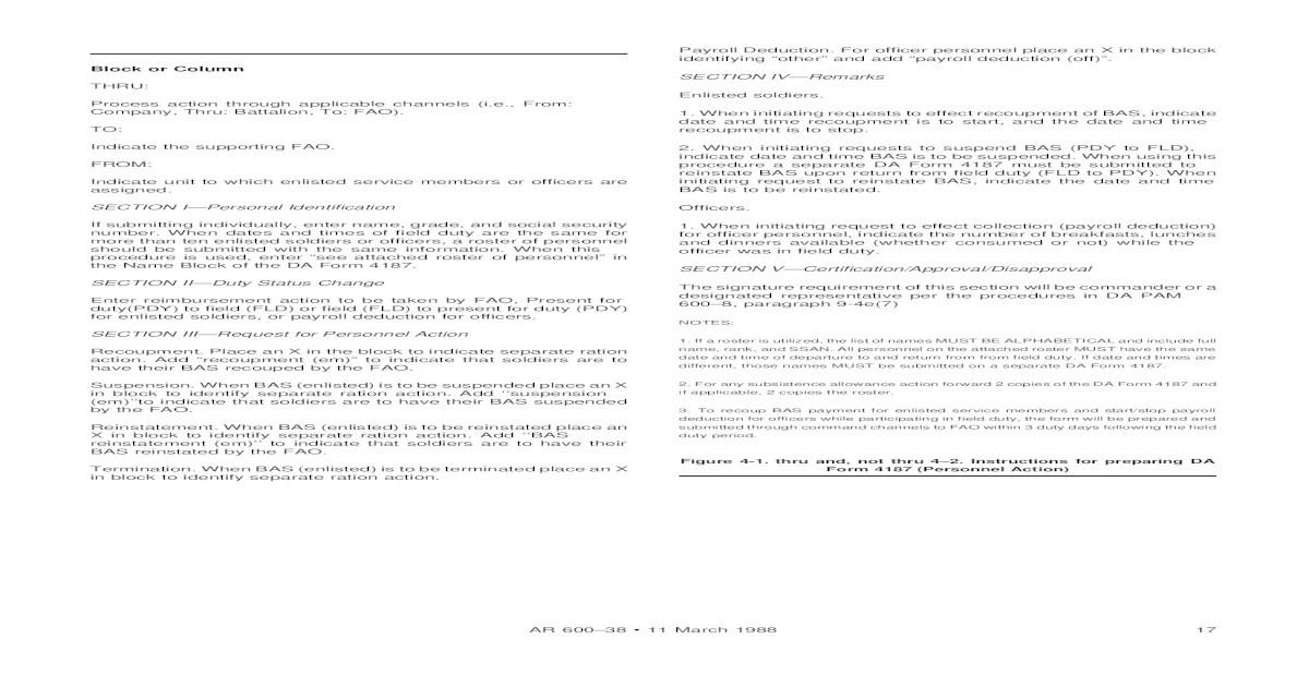 DA Form 4187 Instructions for Missed Meal