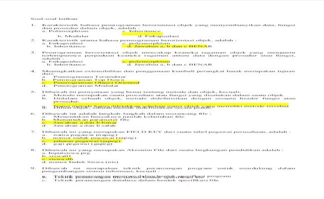 Contoh Soal Uts Pemrograman Berorientasi Objek Contoh Soal Terbaru Cute766
