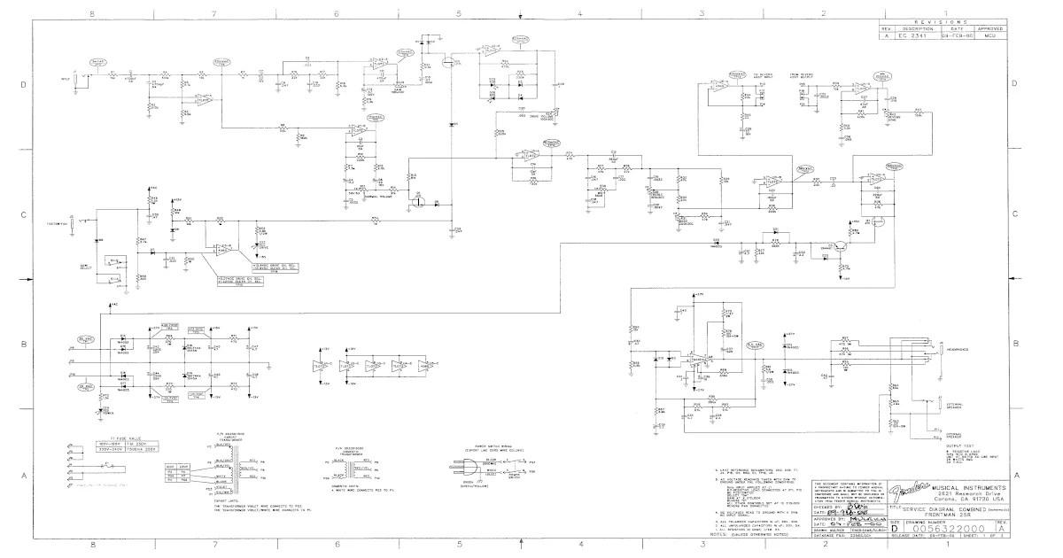 Fender Frontman-25r Guitar Amplifier Schematic