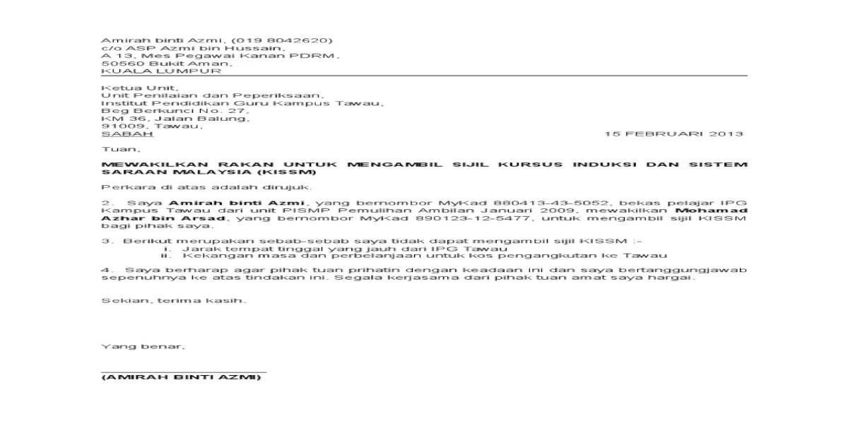 Contoh Surat Rasmi Wakil Ambil Barang B Warna Cute766
