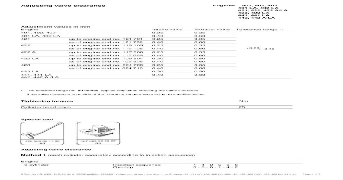 Mercedes OM 403,421,422,422A Valve adjusment