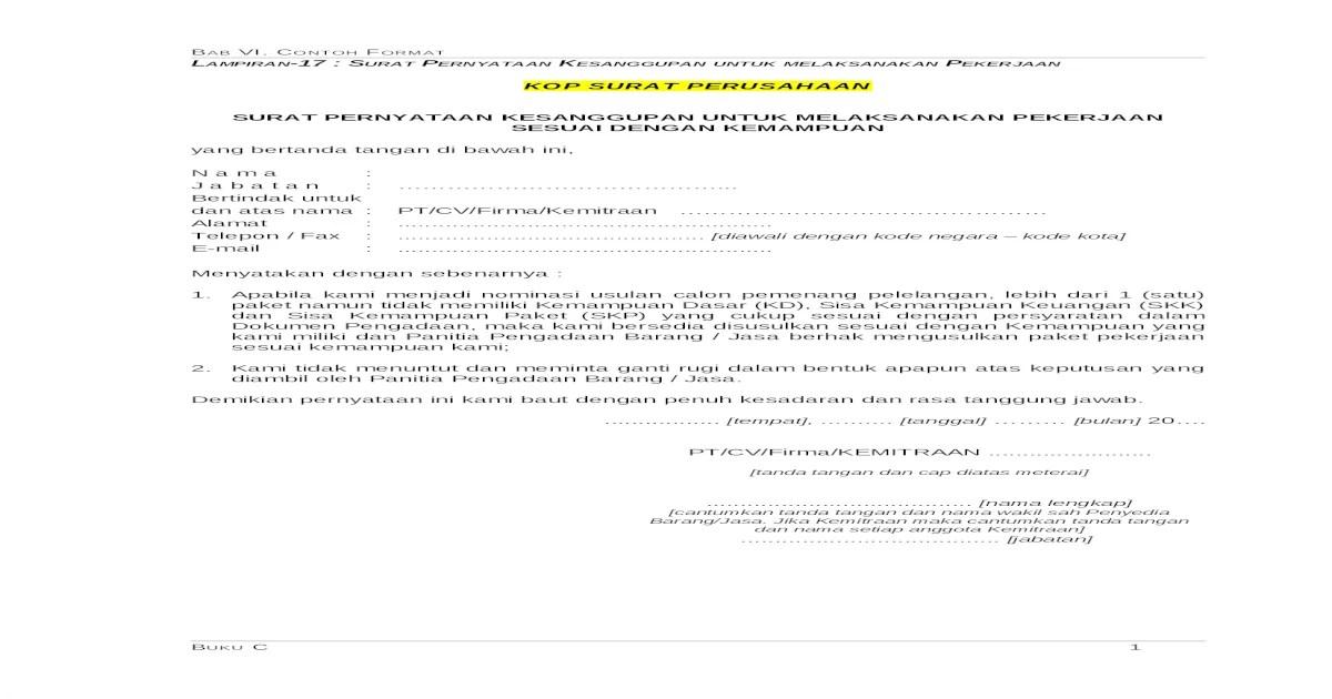 Contoh Surat Pernyataan Kesanggupan Melaksanakan Pekerjaan ...