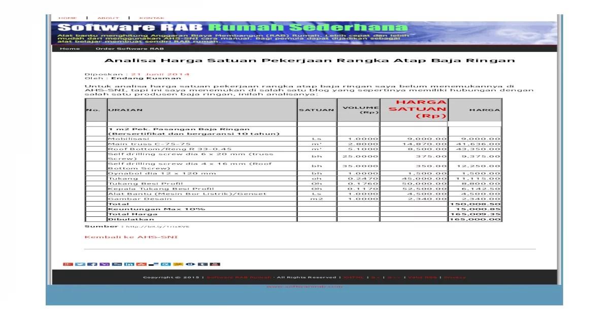 analisa harga satuan pekerjaan atap baja ringan 2017 info seputar kerjaan