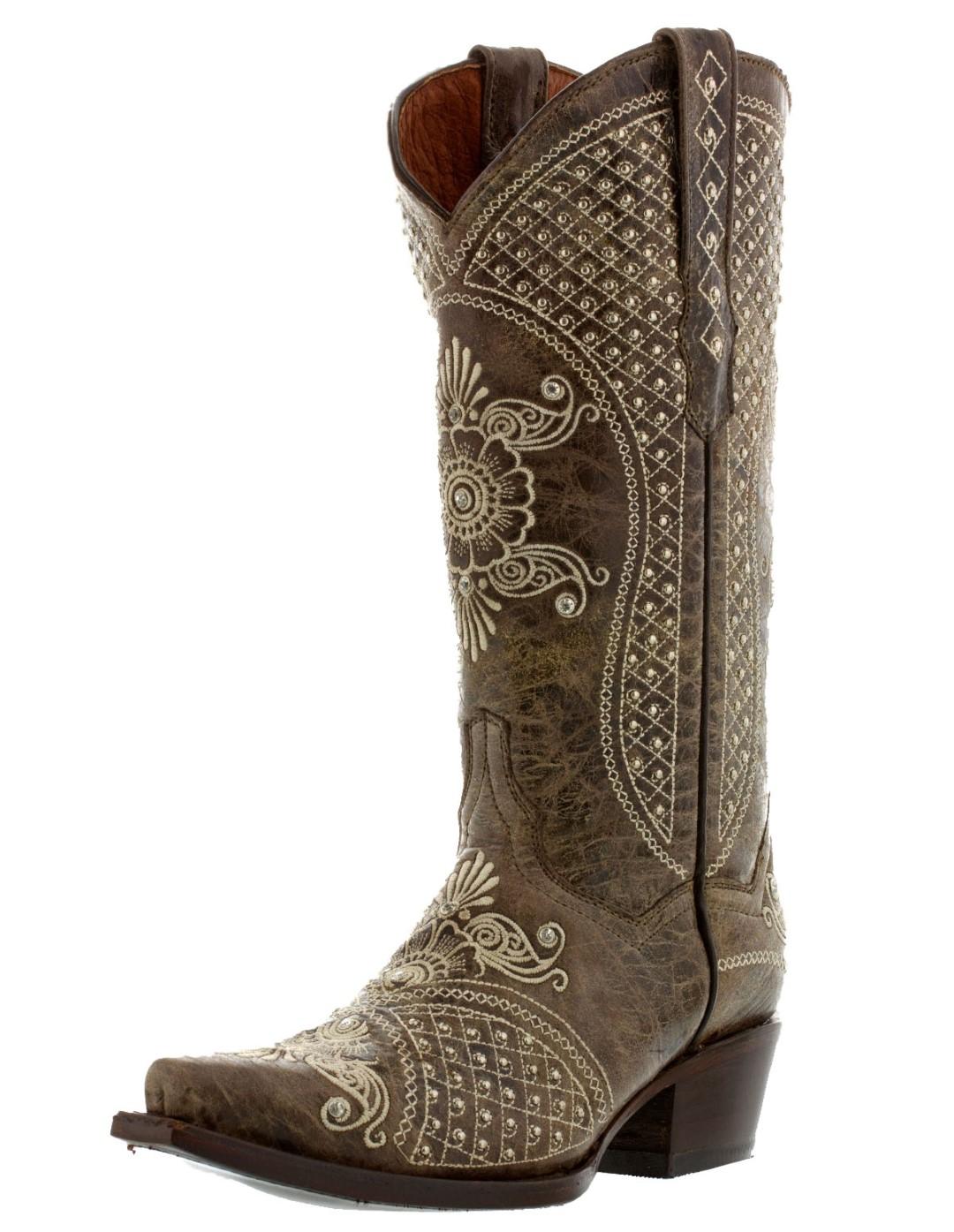 Womens Distressed Brown Wedding Leather Cowboy Boots Studded Rhinestones Western  eBay