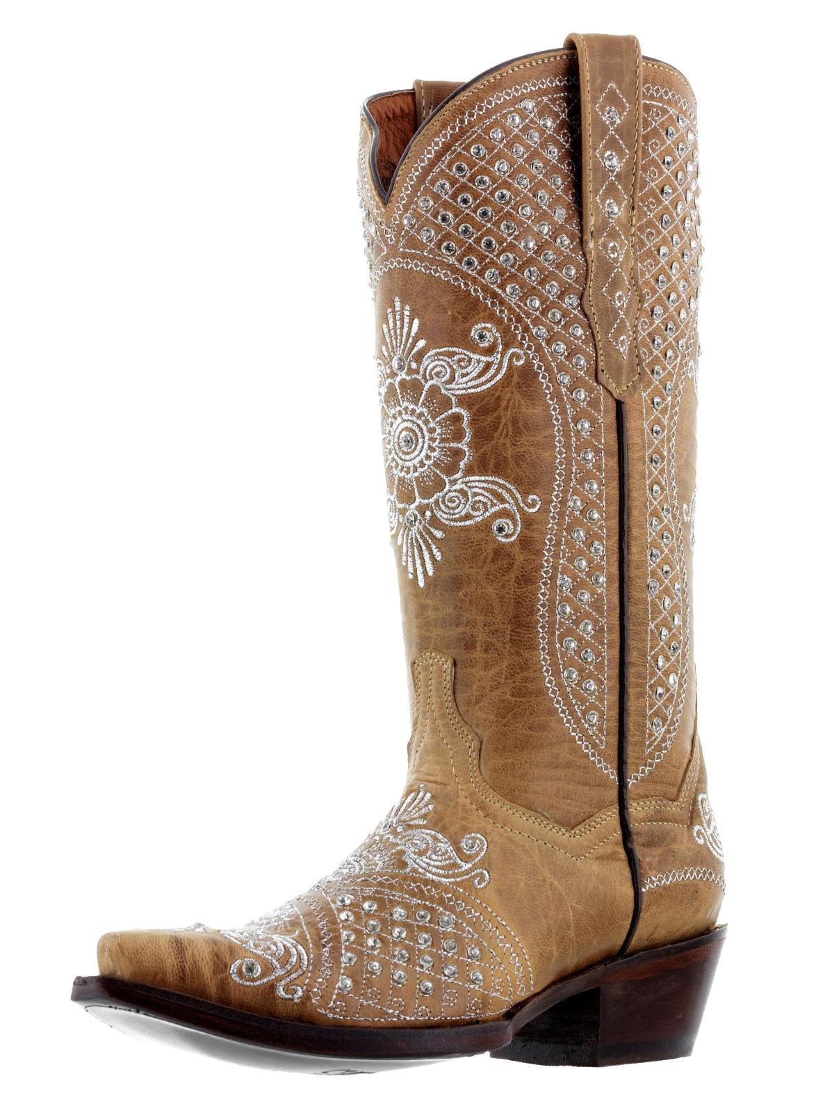 Womens Sand Tan Leather 670 Rhinestones Bridal Collection Western Cowboy Boots  eBay