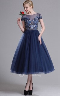 A-Line Tea-Length Bateau Short Sleeve Tulle Beading ...