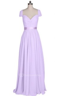 Short-sleeved Long Chiffon Dress With Pleats and Sash ...
