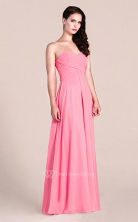 Simple Style Sweetheart Strapless Long Chiffon Bridesmaid ...