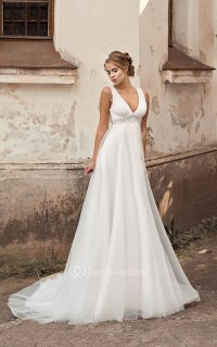 V-neck Empire A-line Chiffon Wedding Dress With Beading ...