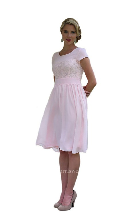Short Sleeve Kneelength Dress With Lace Embellishment