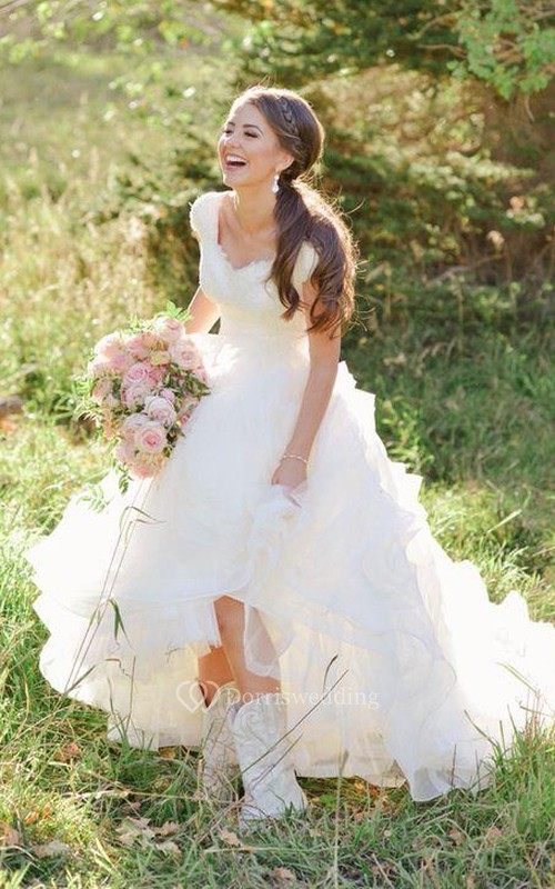 Cowboy Boots Vneck Ruffles Tiered Skirt Aline Lace Organza Wedding Dress with Cap Sleeves
