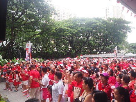 Celebrating with a sea of red