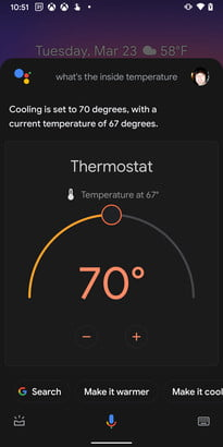 what is google assistant adjust the temp