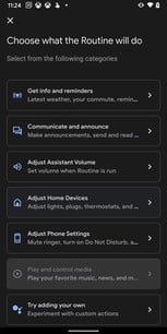 Google Assistant Routine Action Categories
