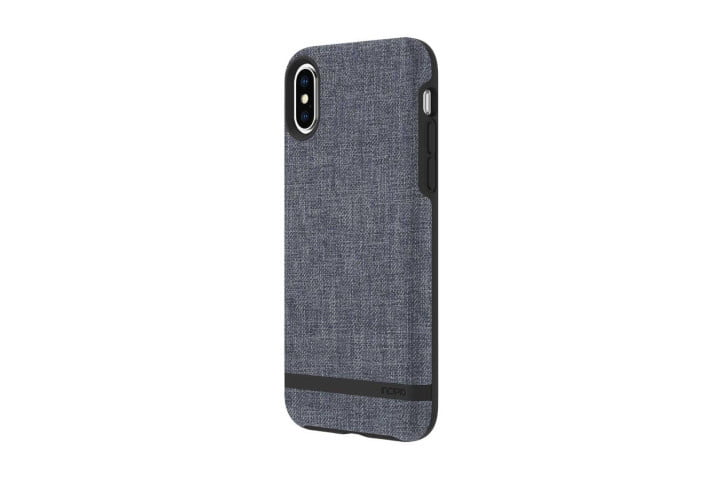 Photo shows the rear view of an iPhone XS in a blue fabric design case from Incipio