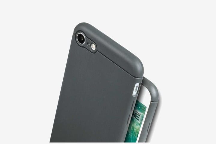 Picture of iPhone 8 with grey Caudabe Sheath phone cover