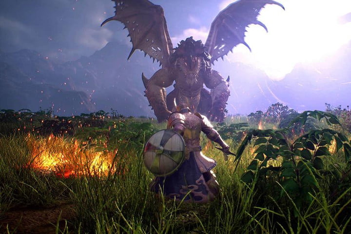 A player stands down a dragon in Bless Unleashed