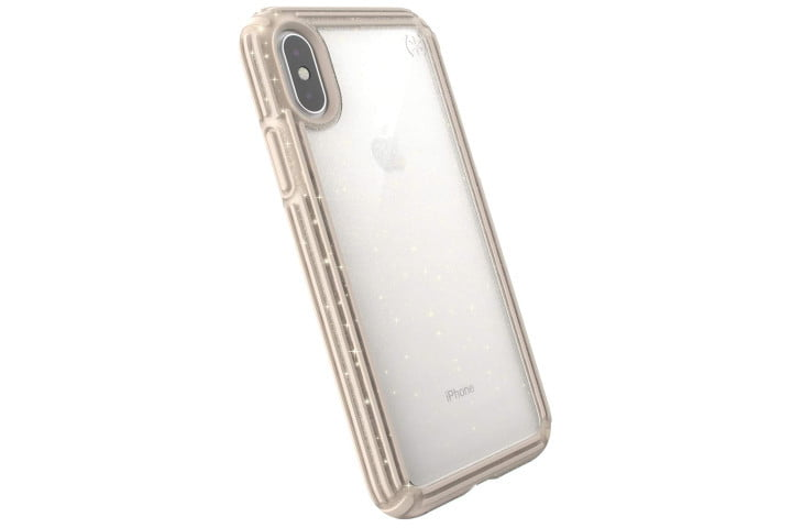 Photo shows the rear view of an iPhone XS in a clear case with gold glitter from Speck