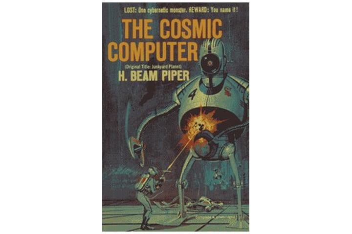 Photo shows the cover of the book, with a blue background and orange text for the book title and author name, and an illlustration of a robot and a soldier shooting it with a laser gun