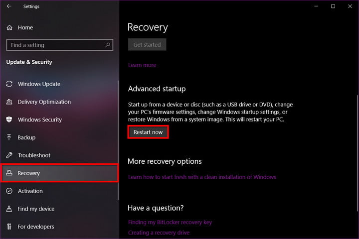 Windows 10 Recovery Advanced Startup